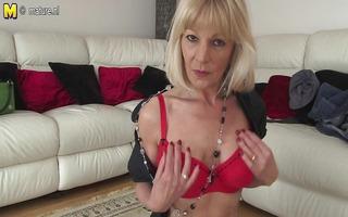 blonde british granny getting soaked