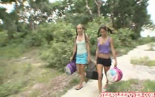 hawt playful lesbo sophia and nicole are camping