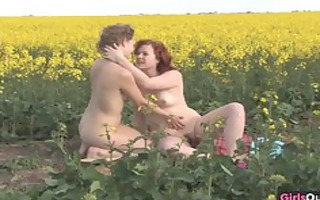 natural lesbo gals on a canola field