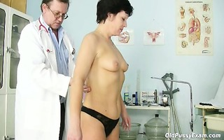 older woman eva visits gyno doctor to acquire