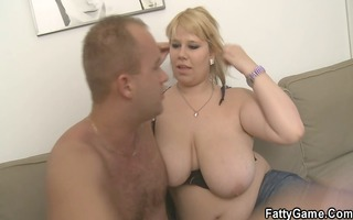 golden-haired big beautiful woman takes it is