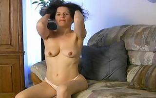 mature fetisha plays with her muff