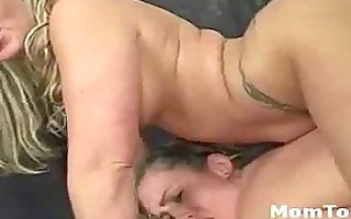 blond mommy and daughter team and share fat cock