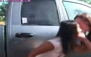 legal age teenager lesbo car wash