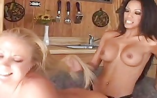 appealing lesbo pair with large titties banging