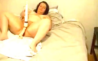 big beautiful woman older uses hitachi and sex toy