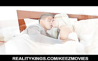 charming blonde wife wakes her spouse up to ride