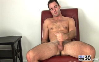 sexy older guy with curly torso jerks off his