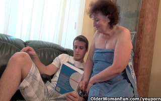 obese granny receives fucked on the daybed
