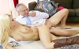 tiny golden-haired doxy receives a cumshot