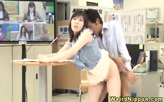 real japanese sits on boys pecker