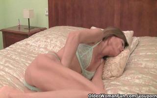 very slim granny undresses off and masturbates