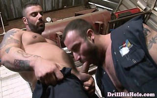 athletic gay mechanics fucking at work