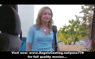 lesbo angels flashing mambos in a car