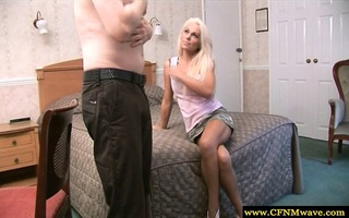 cfnm golden-haired gives lad blow job