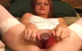 redhead mother i masturbating with giant dildos