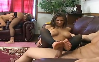 rachel and ally foursome hose fetish with a