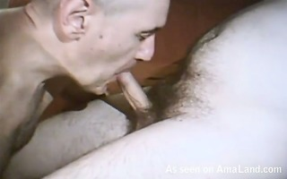dad blows on his boner and eats cum