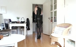 sissy hawt constricted dark leather suit 3