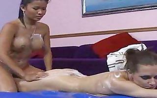 erotic lesbo soapy massage