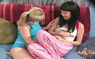 excited golden haired sweetheart ashley fires