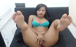 cute latin babe soles on livecam with