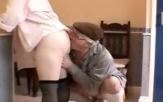 very sexy white haired grandad and wife