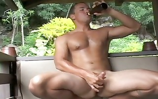 rock hard built homosexual guy jerks off his