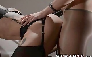 tatto lesbs enjoying sex with thong on