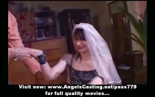 amateur fascinating brunette hair bride pleasing