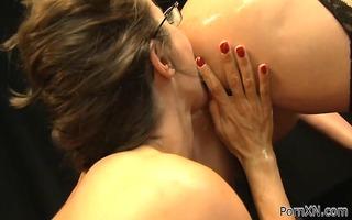 oiled hottie receives trio bizarre cum-hole