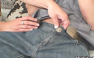 ramrod hungry mother-in-law jumps on his penis