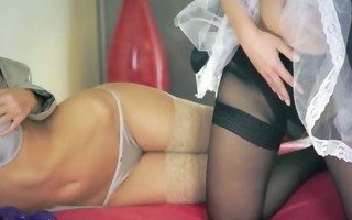two hot luxury lesbians using strap