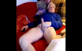 silver senior euro dad wanks his large weenie on