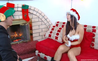 hot xmas chick receives pounded hard