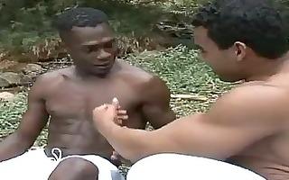 interracial homosexual bareback anal hammering