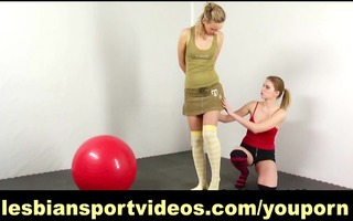 cute gal acquires enticed by lesbo trainer