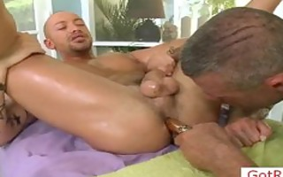 tatooed hunk getting dick oiled and massaged part7