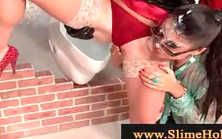 bukkake lesbian babes lovers at the gloryhole
