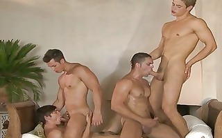 four gracious homosexual hunks having wild group