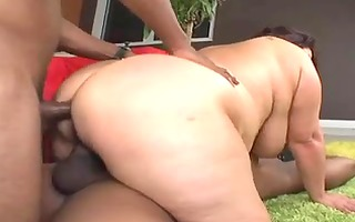 aged brunette hair bbw in an interracial some