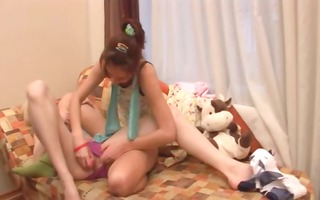 blondie and brunette hair lesbians in act