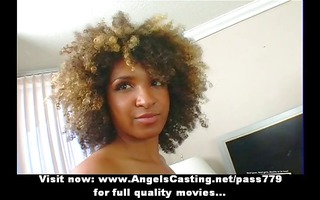enjoyable afro hottie undressing and doing