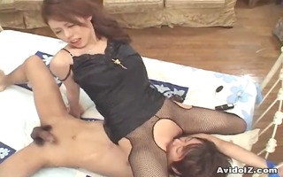 busty japanese give a perfect cook jerking and