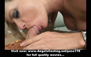 rich golden-haired woman does fellatio for pizza
