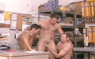 unshaved lads enjoy homosexual three-some