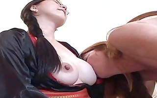 breasty lesbian hotties take up with the tongue