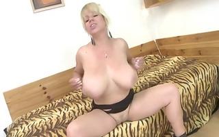 blond big beautiful woman whore masturbating with