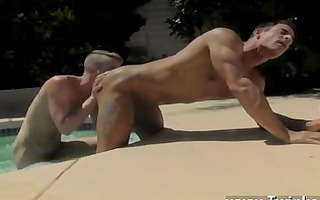 sexy homo dad poolside prick