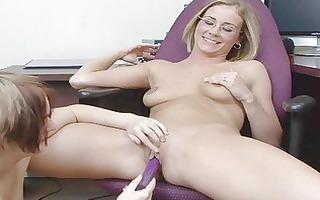 juvenile geek lesbos plays with a sex tool